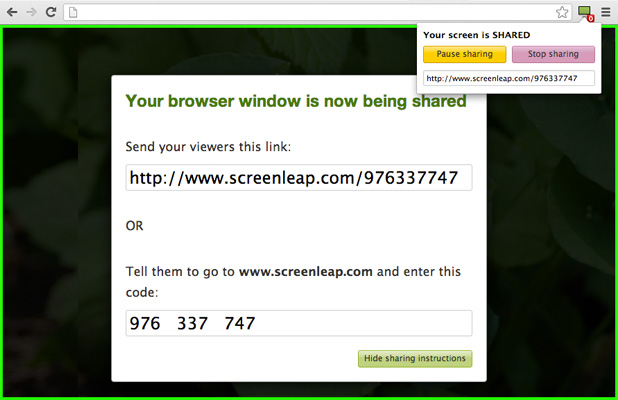 Screenleap in-browser screen sharing