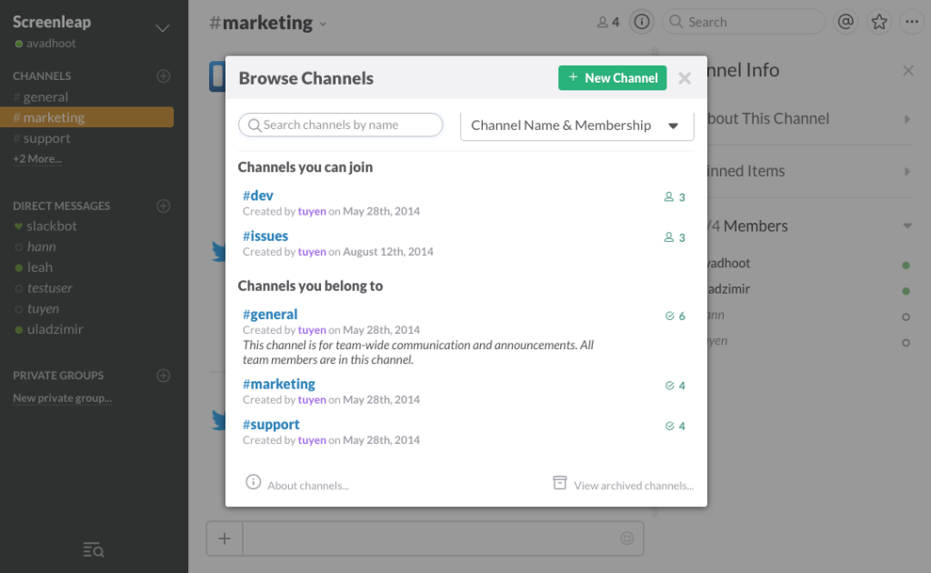Screenleap Slack Channels